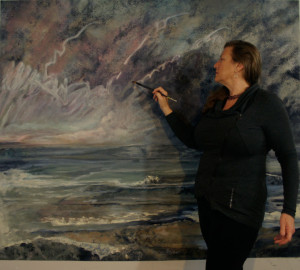 "Jill Nichols painting a commission, ""Connecticut Incoming"""