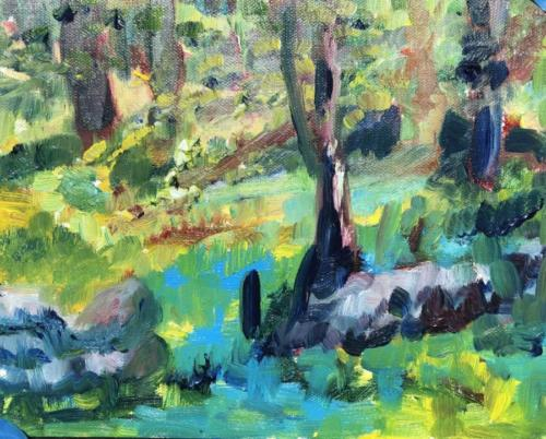 "In the Shade at Weir Farm, oil on linen, 6"" x 8"""