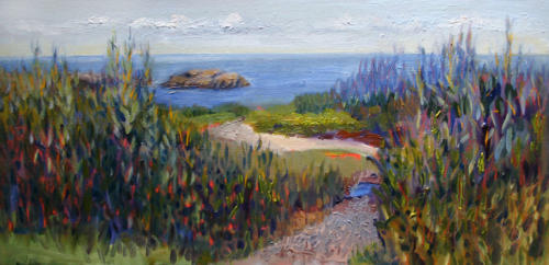 Jill Nichols oil painting plein air, Guilford Shoreline