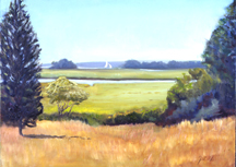 Jill Nichols, oil painting, , house-griswald_point, Old Lyme, CT marsh at Copp's Landing
