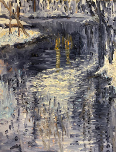 Jill Nichols, oil painting, winter_river_plein_air